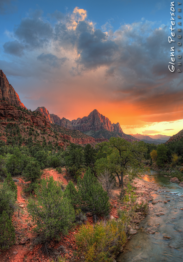 Canyon Junction Sunset Zion National Park UT - www.gpphotos.com/Blog - Glenn Peterson Photography